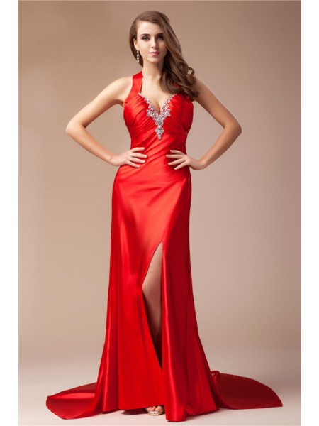 Sheath/Column V-neck Sweep/Brush Train Beading Sleeveless Elastic Woven Satin Dresses