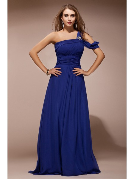 Sheath/Column One-Shoulder Floor-Length Ruffles,Rhinestone Sleeveless Chiffon Dresses