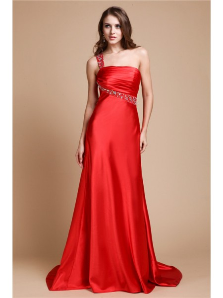 A-Line/Princess One-Shoulder Sweep/Brush Train Beading Sleeveless Elastic Woven Satin Dresses