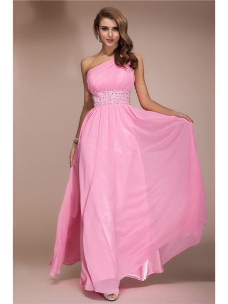 Sheath/Column One-Shoulder Floor-Length Beading Sleeveless Chiffon Dresses