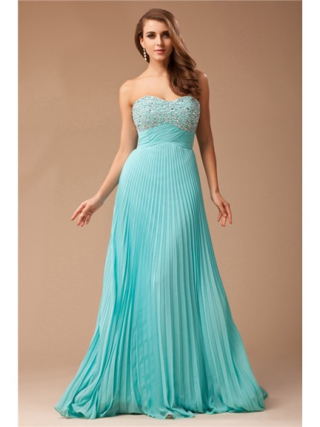 Empire Sweetheart Floor-Length Ruffles,Beading Sleeveless Chiffon Dresses