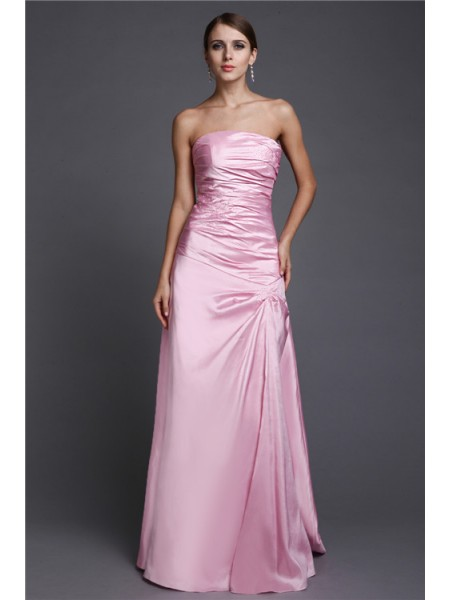 A-Line/Princess Strapless Floor-Length Beading Sleeveless Elastic Woven Satin Dresses