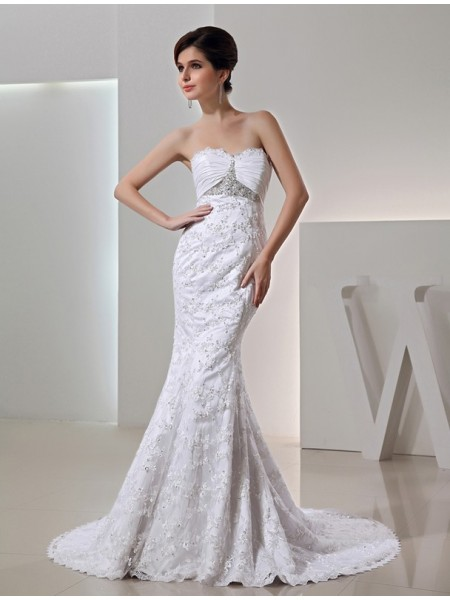 Trumpet/Mermaid Sweetheart Court Train Beading,Lace Sleeveless Taffeta Wedding Dresses