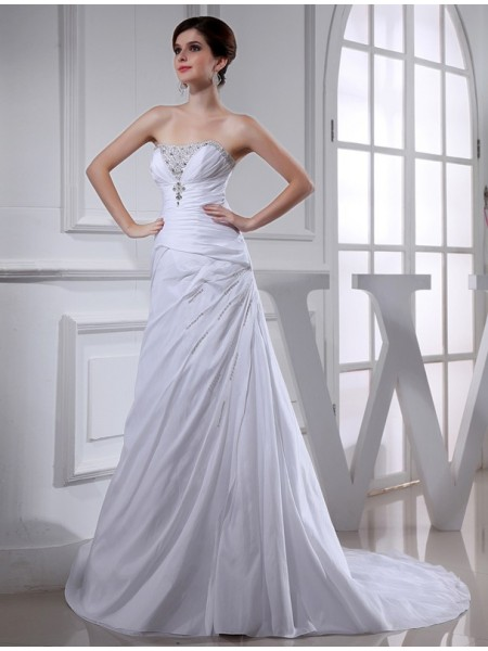 A-Line/Princess Strapless Court Train Beading Sleeveless Taffeta Wedding Dresses