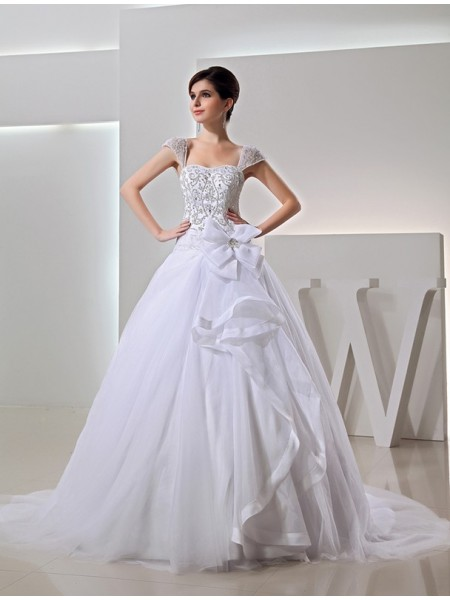 Ball Gown Straps Chapel Train Beading,Embroidery,Bowknot Sleeveless Organza Wedding Dresses