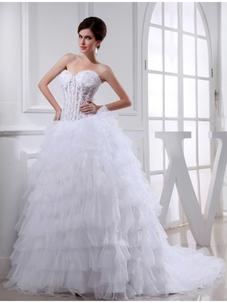 Ball Gown Sweetheart Chapel Train Beading,Applique Sleeveless Organza Wedding Dresses