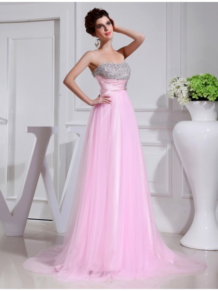 A-Line/Princess Strapless Sweep/Brush Train Beading Sleeveless Satin,Tulle Dresses