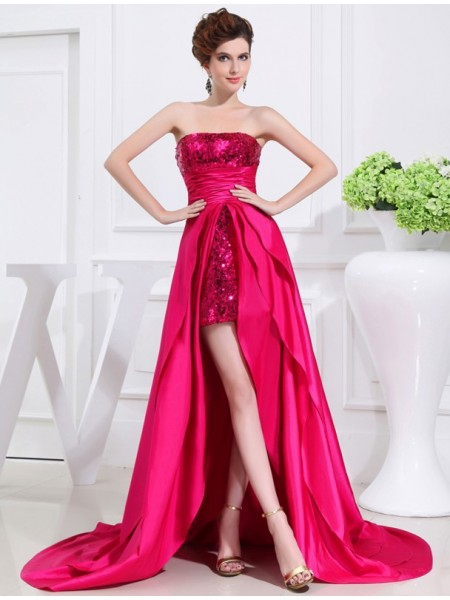 A-Line/Princess Strapless Asymmetrical Applique Sleeveless Taffeta Dresses