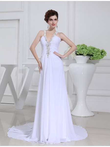 A-Line/Princess V-neck Court Train Beading,Applique Sleeveless Chiffon Wedding Dresses