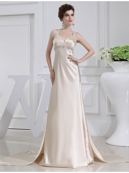 A-Line/Princess Straps Sweep/Brush Train Beading Sleeveless Elastic Woven Satin Dresses