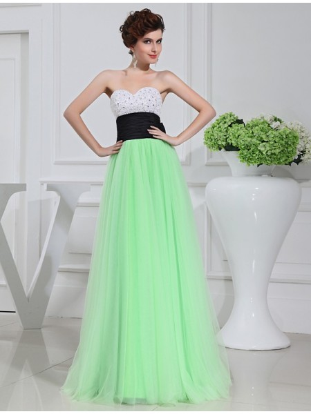 A-Line/Princess Sweetheart Floor-Length Beading,Bowknot Sleeveless Satin,Tulle Dresses
