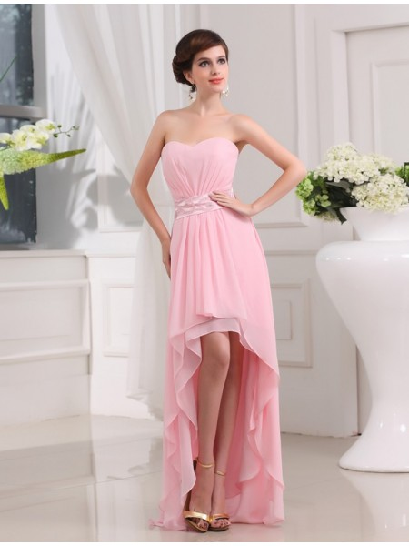 A-Line/Princess Sweetheart Asymmetrical Beading Sleeveless Chiffon Dresses