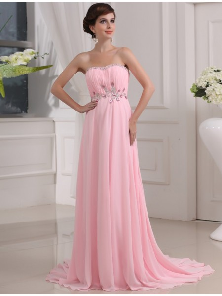 A-Line/Princess Strapless Sweep/Brush Train Beading,Applique Sleeveless Chiffon Dresses