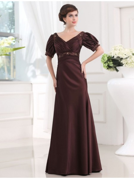Sheath/Column V-neck Floor-Length Beading 1/2 Sleeves Satin Dresses