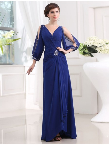 Sheath/Column V-neck Floor-Length Beading 3/4 Sleeves Chiffon Dresses