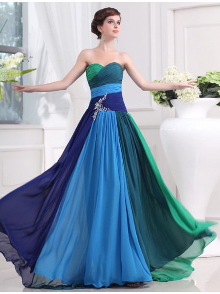 A-Line/Princess Sweetheart Sweep/Brush Train Beading Sleeveless Chiffon Dresses