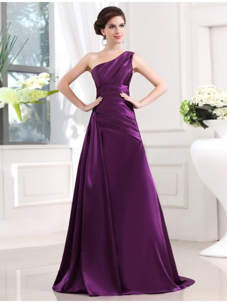 A-Line/Princess One-Shoulder Sweep/Brush Train Pleats Sleeveless Elastic Woven Satin Dresses