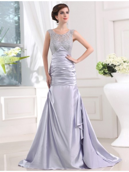 Trumpet/Mermaid Scoop Sweep/Brush Train Beading,Lace Sleeveless Elastic Woven Satin Dresses