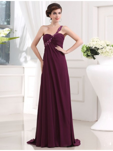 A-Line/Princess One-Shoulder Sweep/Brush Train Beading,Applique Sleeveless Chiffon Dresses