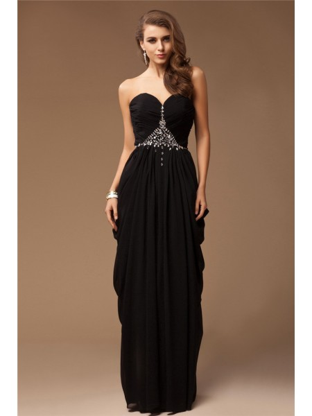 Sheath/Column Sweetheart Floor-Length Beading Sleeveless Chiffon Dresses