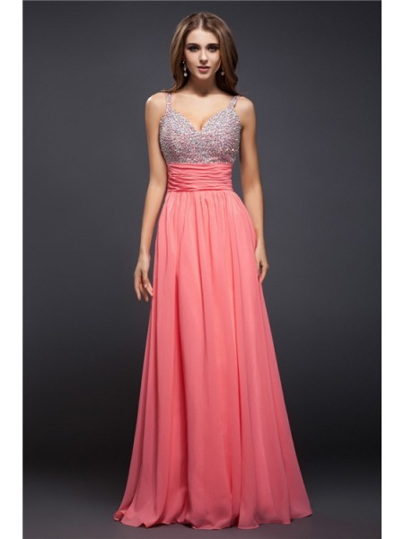 Sheath/Column Spaghetti Straps Floor-Length Beading Sleeveless Chiffon Dresses