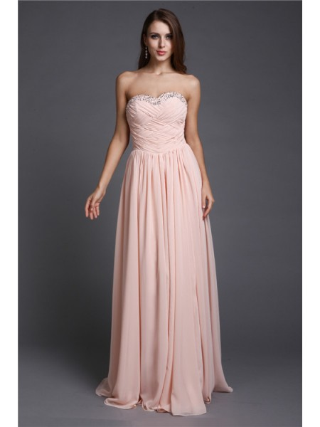 A-Line/Princess Sweetheart Floor-Length Beading Sleeveless Chiffon Dresses
