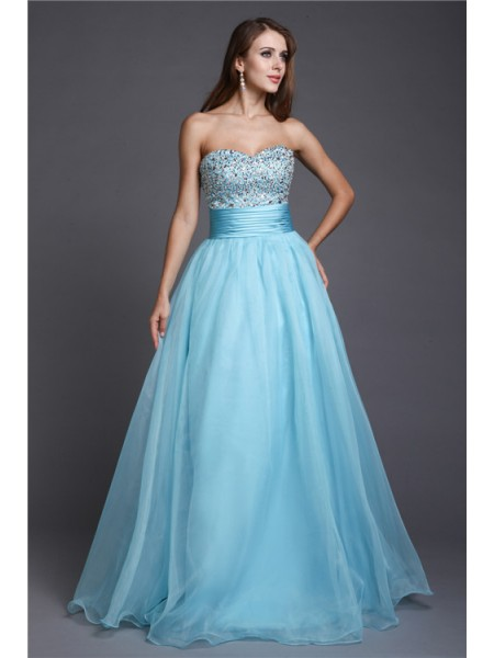 A-Line/Princess Sweetheart Floor-Length Beading Sleeveless Organza Dresses