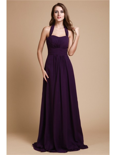 A-Line/Princess Halter Floor-Length Ruffles Sleeveless Chiffon Bridesmaid Dresses