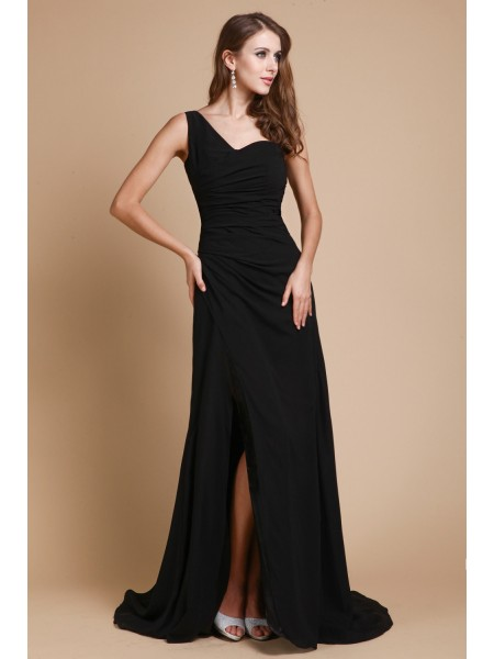 A-Line/Princess One-Shoulder Sweep/Brush Train Ruffles Sleeveless Chiffon Dresses
