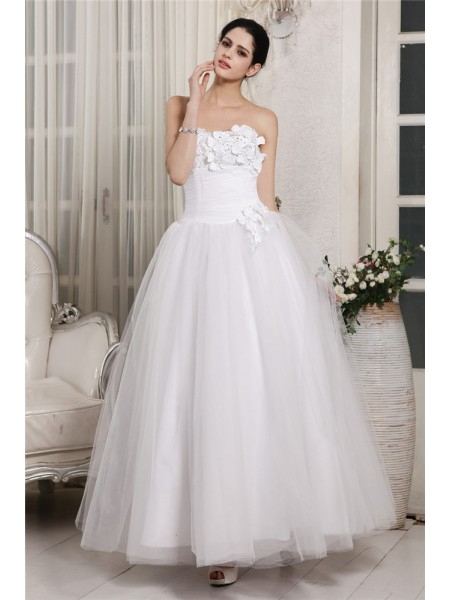 Ball Gown Sweetheart Ankle-Length Beading Sleeveless Organza Wedding Dresses