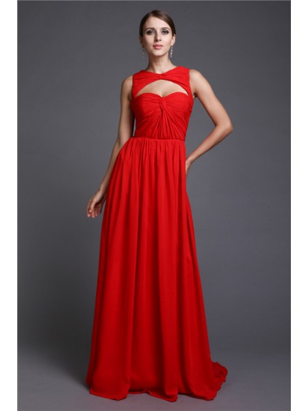 A-Line/Princess High Neck Sweep/Brush Train Ruffles Sleeveless Chiffon Dresses