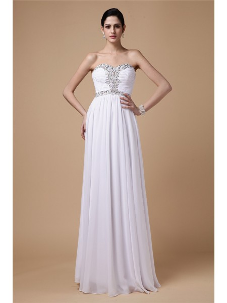 Sheath/Column Strapless Floor-Length Pleats,Beading Sleeveless Chiffon Dresses