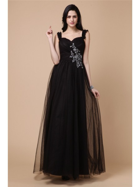 A-Line/Princess Straps Ankle-Length Beading,Applique Sleeveless Net Dresses