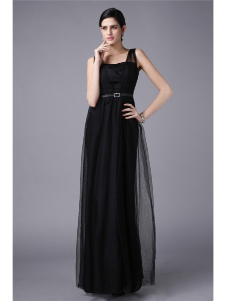 Sheath/Column Straps Floor-Length Sash/Ribbon/Belt Sleeveless Net Dresses