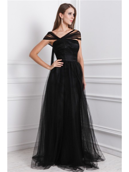 A-Line/Princess Bateau Floor-Length Ruffles Sleeveless Net Dresses