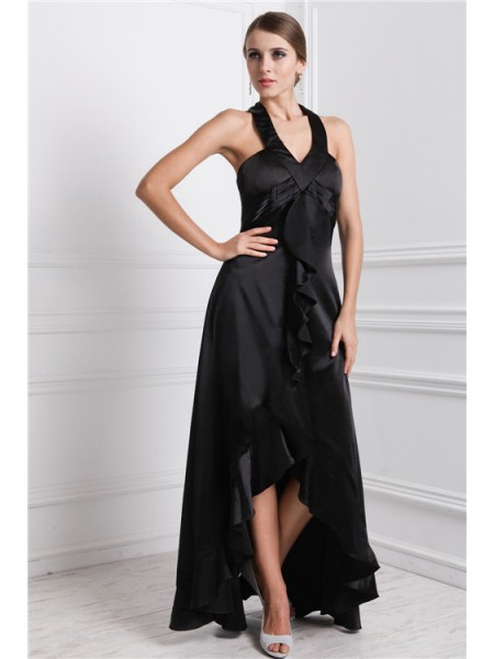 A-Line/Princess Bateau Asymmetrical Ruffles Sleeveless Silk like Satin Dresses