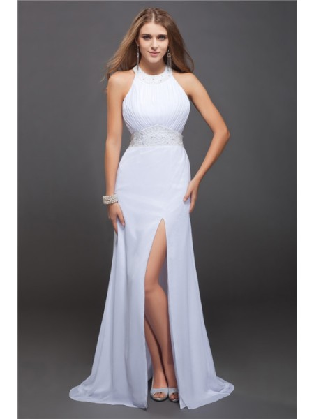 Sheath/Column Jewel Floor-Length Ruffles,Beading Sleeveless Chiffon Dresses
