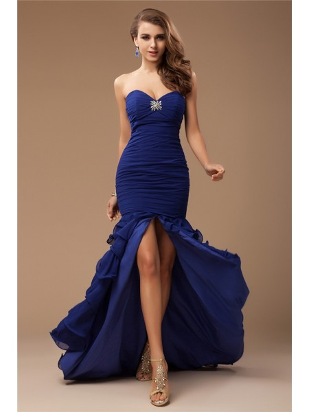 Trumpet/Mermaid Sweetheart Sweep/Brush Train Ruffles,Beading Sleeveless Chiffon Dresses