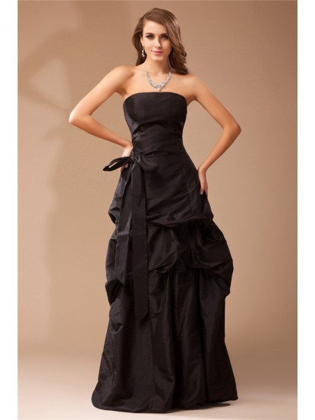 A-Line/Princess Strapless Floor-Length Ruffles Sleeveless Taffeta Dresses