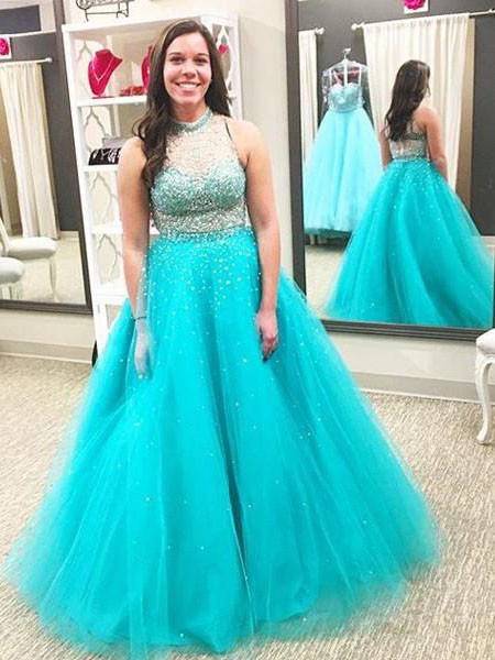 Ball Gown High Neck Floor-Length Beading Sleeveless Tulle Dresses