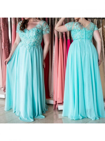 A-Line/Princess Sweetheart Floor-Length Applique Short Sleeves Chiffon Dresses