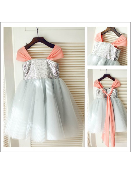 A-Line/Princess Straps Tea-Length Sequin Sleeveless Tulle Flower Girl Dresses