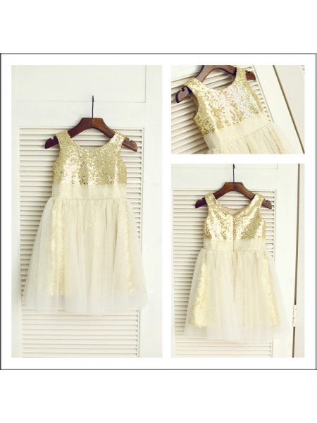 A-Line/Princess Scoop Tea-Length Sequin Sleeveless Sequins Flower Girl Dresses