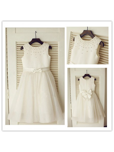 A-Line/Princess Scoop Tea-Length Bowknot Sleeveless Tulle Flower Girl Dresses