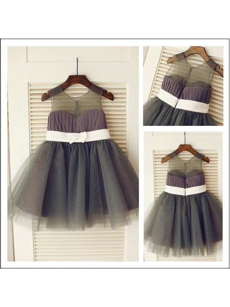 A-Line/Princess Scoop Knee-length Sash/Ribbon/Belt Sleeveless Tulle Flower Girl Dresses