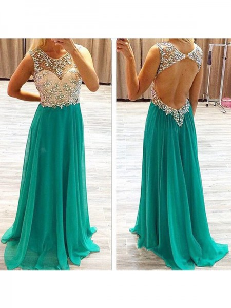 A-Line/Princess Sleeveless Chiffon Sheer Neck Beading Sweep/Brush Train Dresses