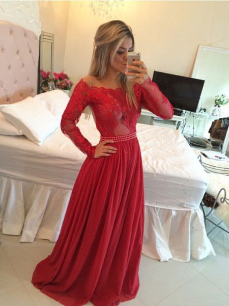 A-Line/Princess Long Sleeves Chiffon Off-the-Shoulder Applique Sweep/Brush Train Dresses
