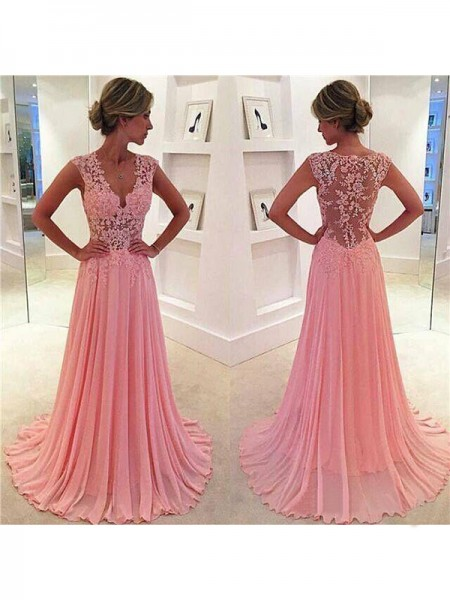 A-Line/Princess Sleeveless Chiffon V-neck Lace Sweep/Brush Train Dresses