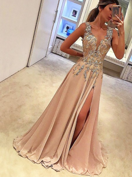 A-Line/Princess Sleeveless Applique V-neck Floor-Length Chiffon Dresses