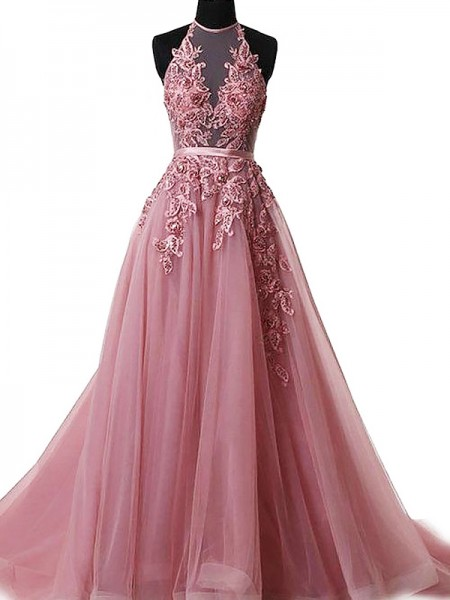 A-Line/Princess Sleeveless Applique Halter Sweep/Brush Train Tulle Dresses